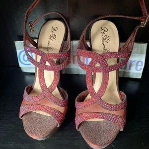 Burgundy sparkle bedazzled heels ( pumps )